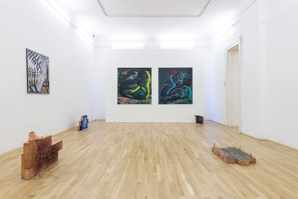 antroporary, group, exhibition, we see a room with art hanging from the wall and scultures and installations on the floor
