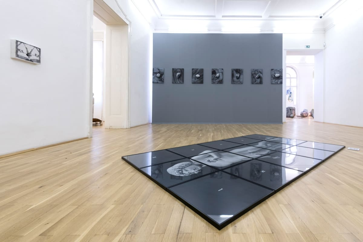 Image shows 7 images on a dark grey wall each with a stone in the middle over the picture. On the floor there is an installation.