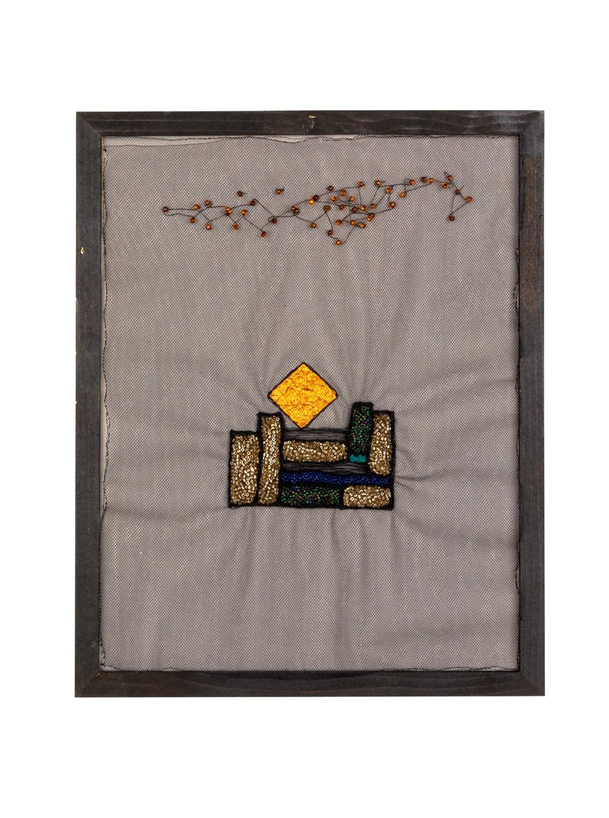 glass beads, thread, and foil on tulle framed, new art dealers