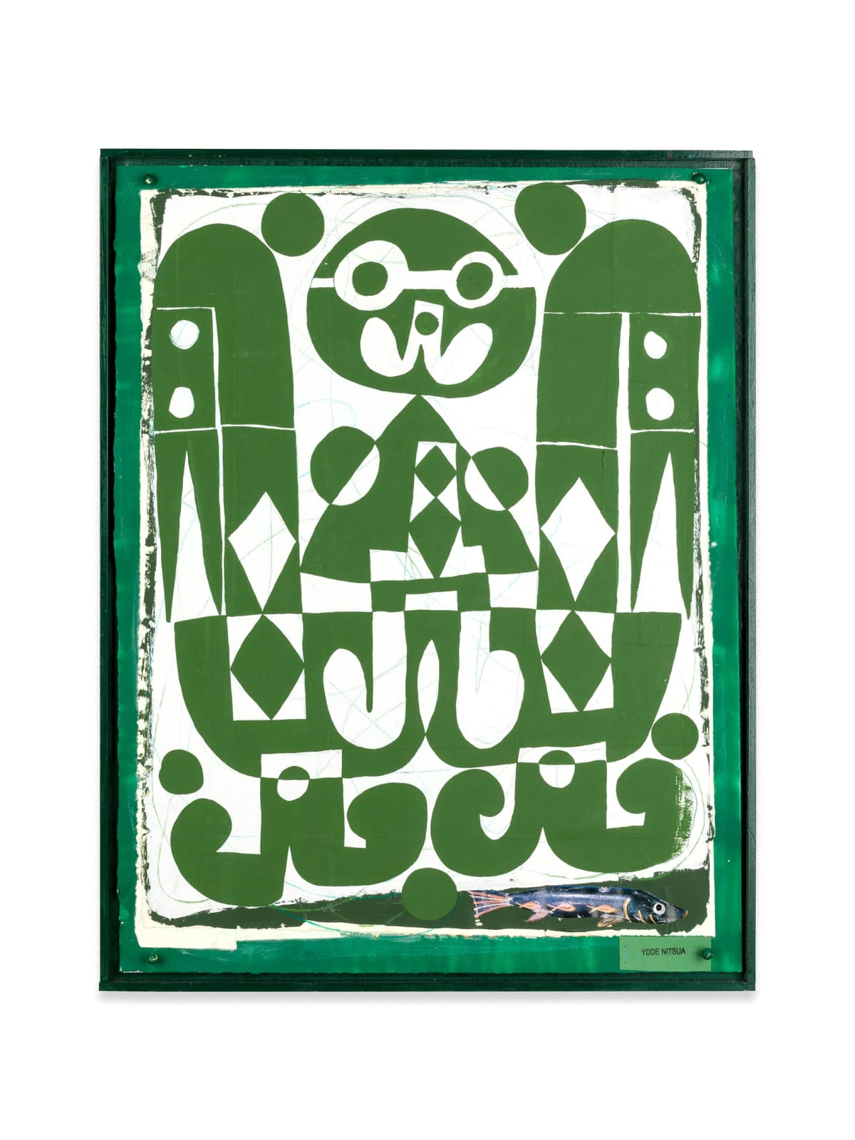 Austin eddy, spotlight, featured, hans gallery, a green and white collage of a boy and at the bottom right is a cutout of a blue fish