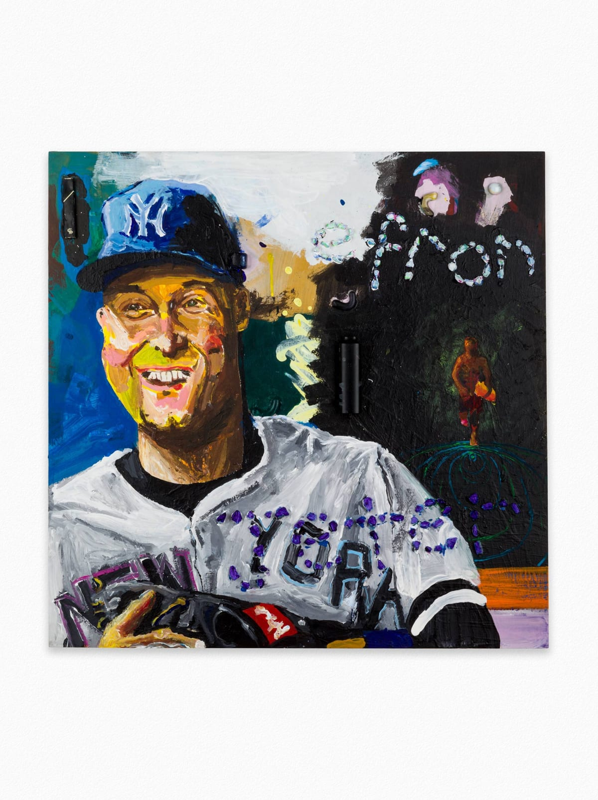 david bavaria, artist, collage in color of baseball player and his name 'Efron'