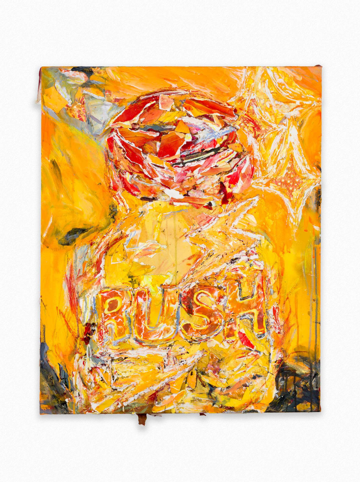lauren sullivan, artist,  orange colored collage with the word rush