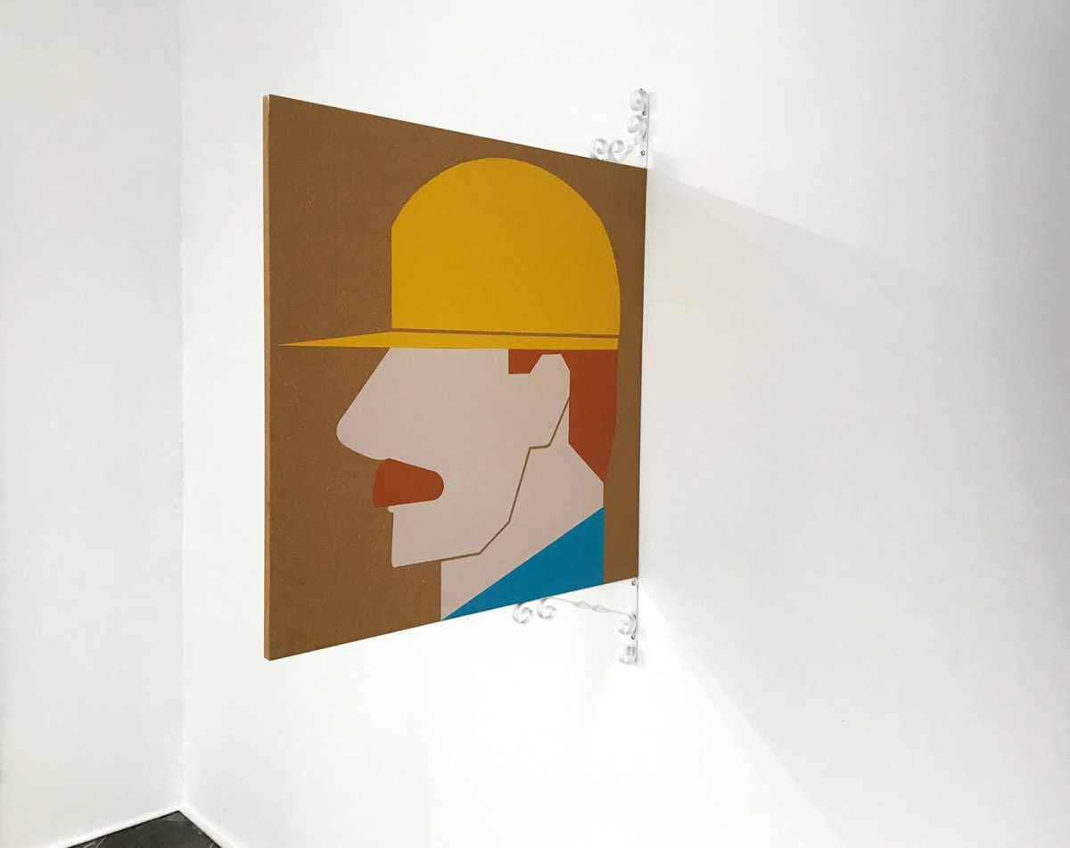 paintings of a man with a mustache and a hat that covers his eyes.