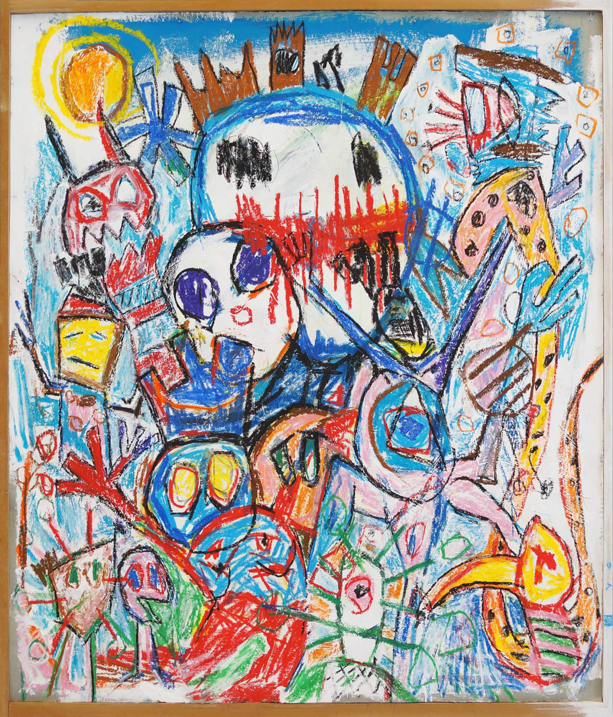 ernst koslitsch artwork show a very colorful childlike painting of various creatures and monsters