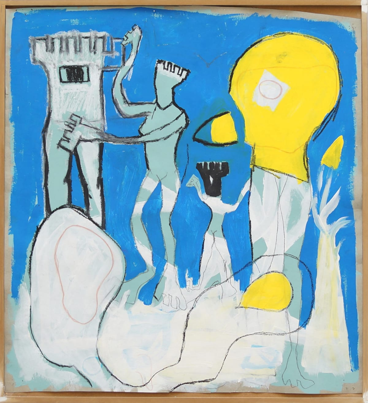 ernst koslitsch shows an artwork with two figures a duck a tower in blue white and yellow