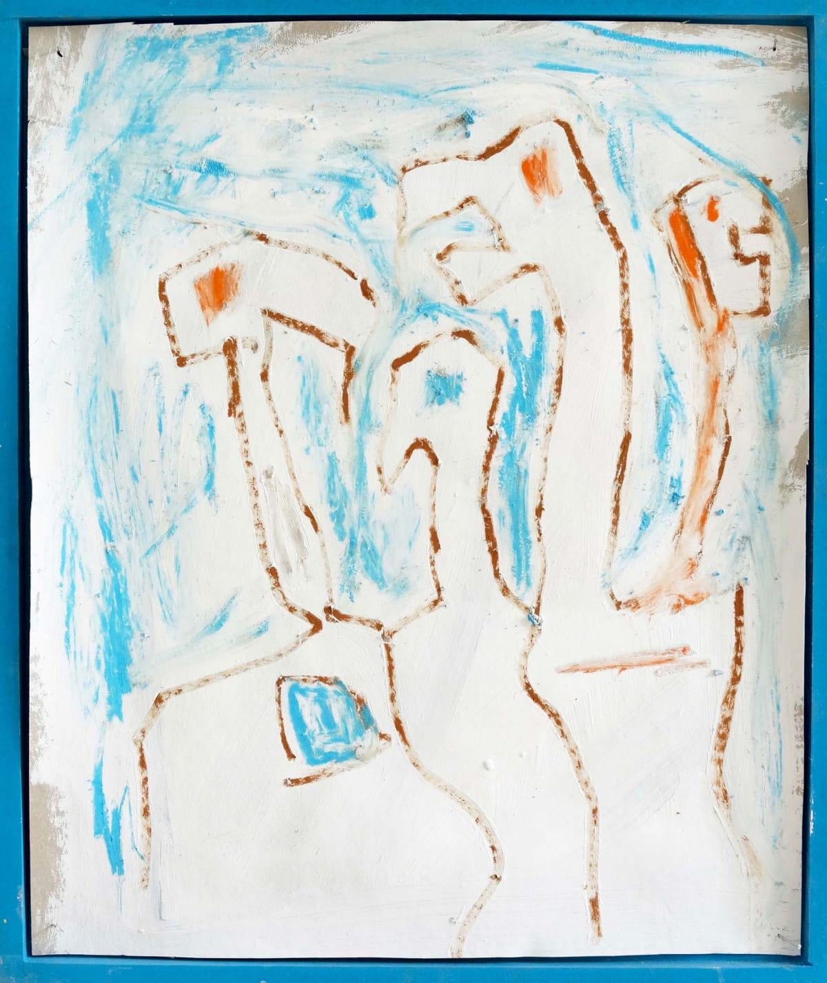 ernst koslitsch artwork shows a painting of a 4 headed creature framed in a blue wooden frame