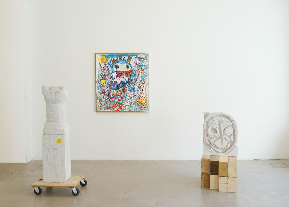 ernst koslitsch at raum mit licht gallery exhibition showing 2 wooden sculptures and a colorful painting