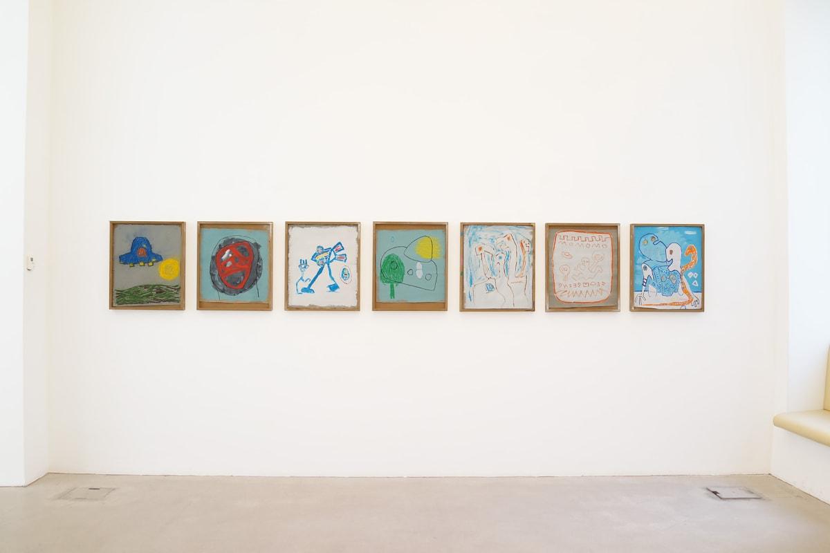 ernst koslitsch exhibition raum mit licht shows 7 framed artworks hanging on the wall
