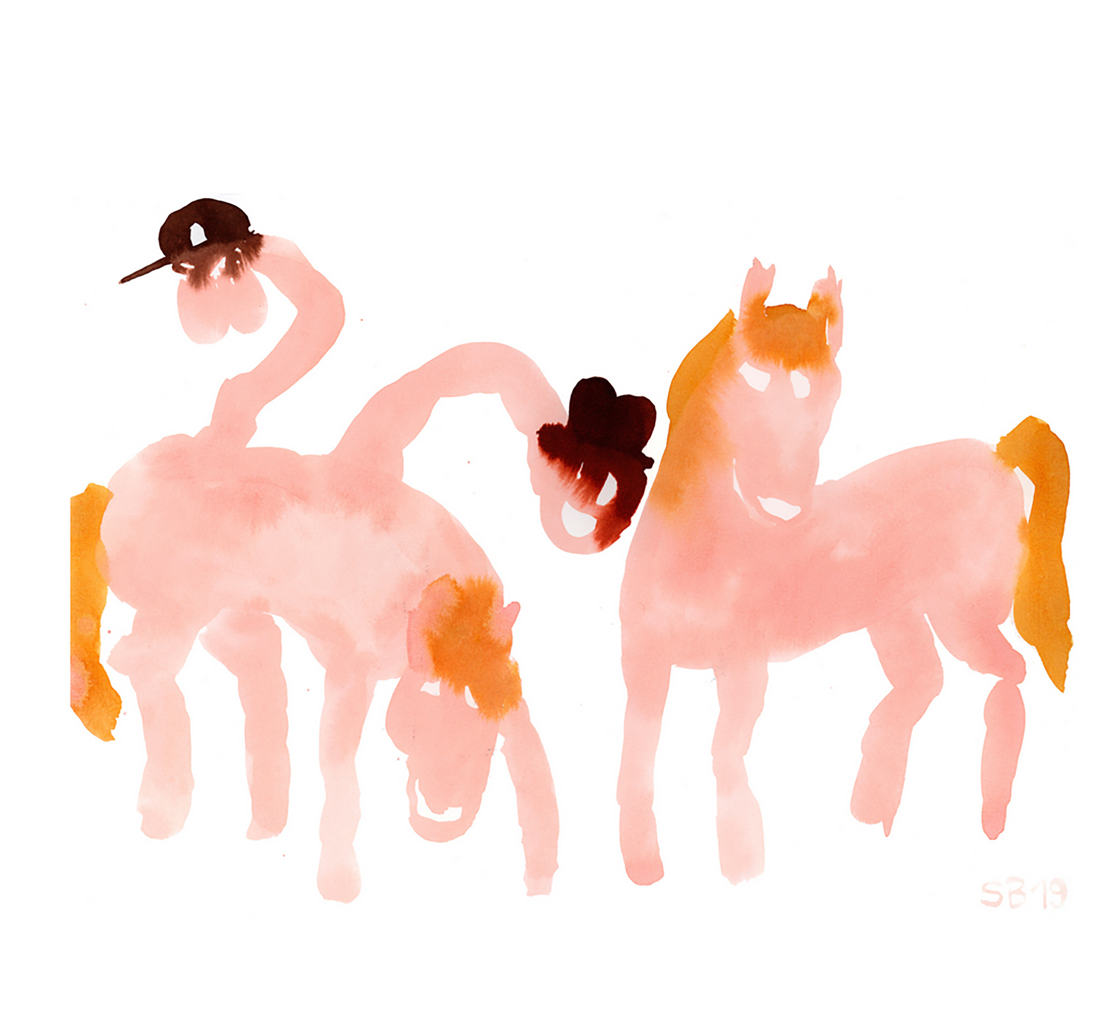 horses, group, painting, pink, smoking, funny, sarah bogner, artist