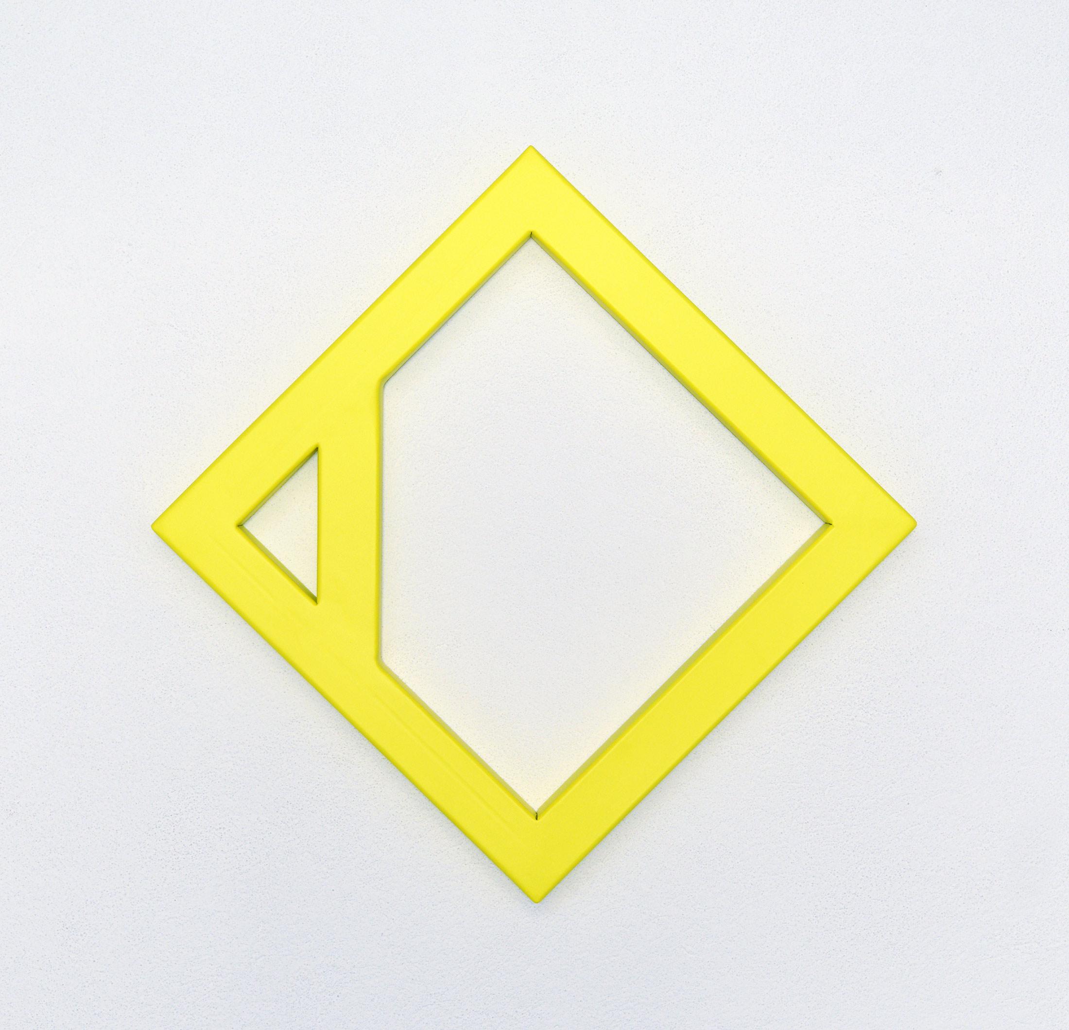 emanuel ehgartner, yellow steel sculpture, varnish, available origianl work