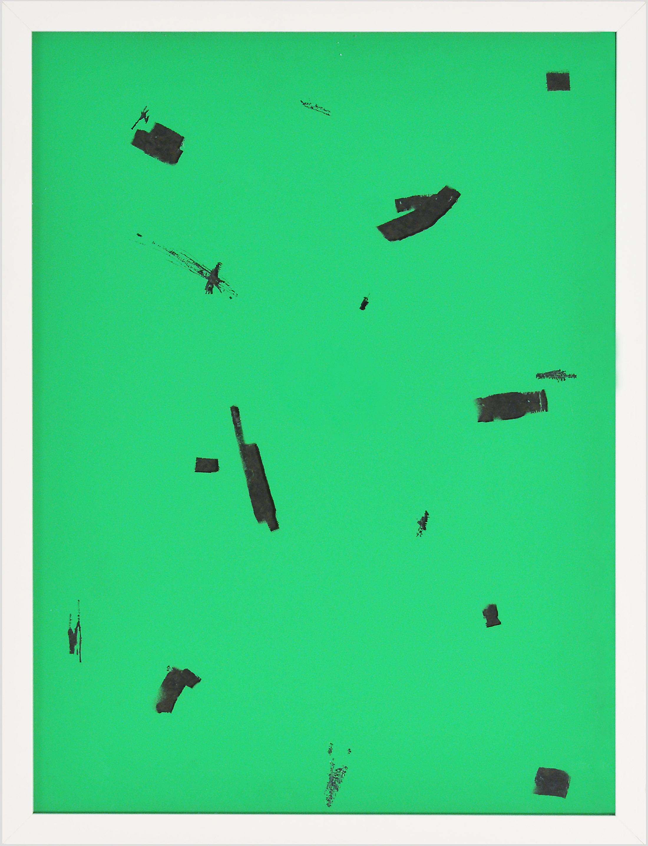 emaneul ehgartner, contemporary artist, varnish on glass, green, viewing room