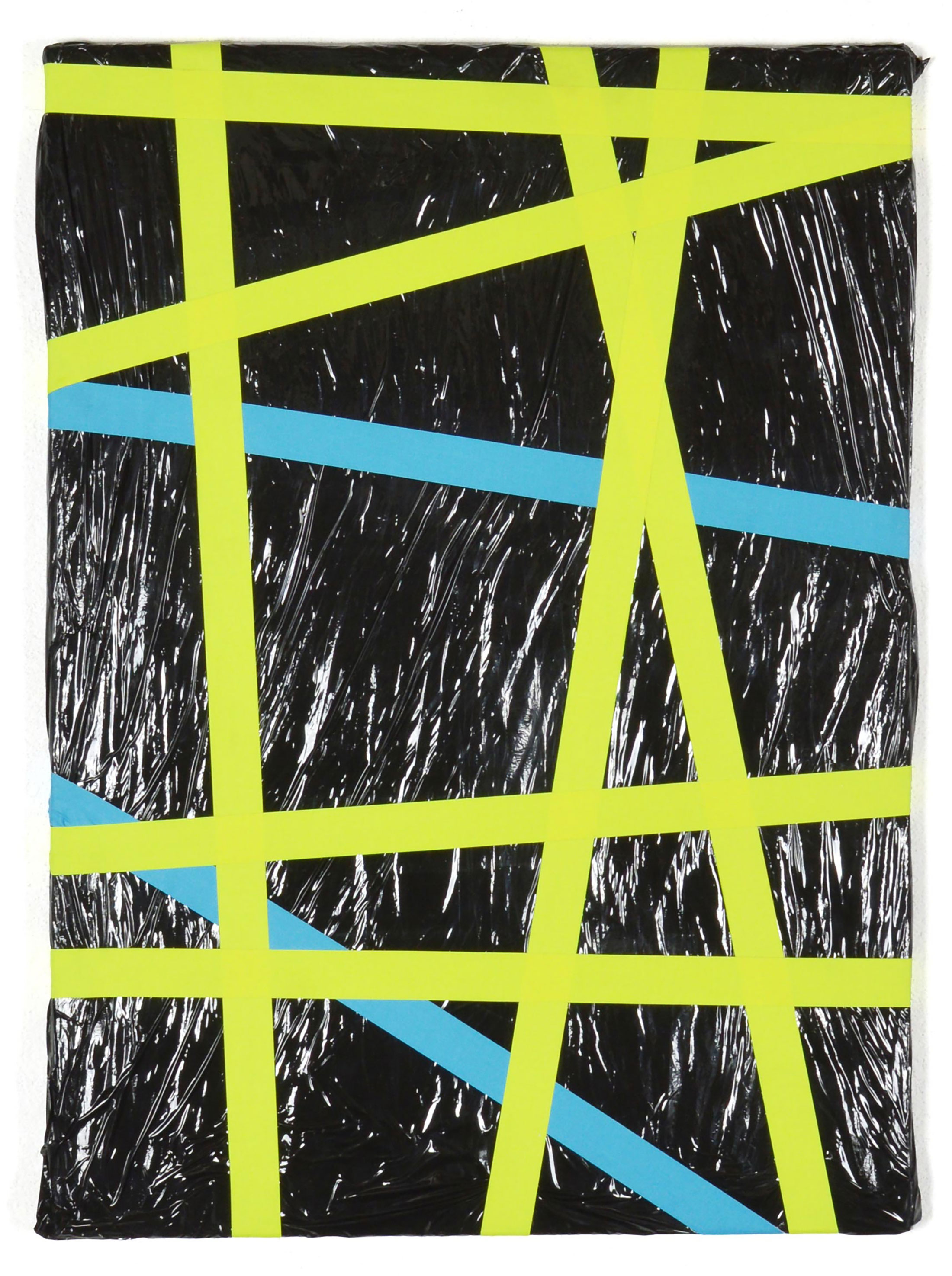 emanuel ehgartner, contemporary artist, mixed media, wrapping foil, black and yellow piece, artist to collect