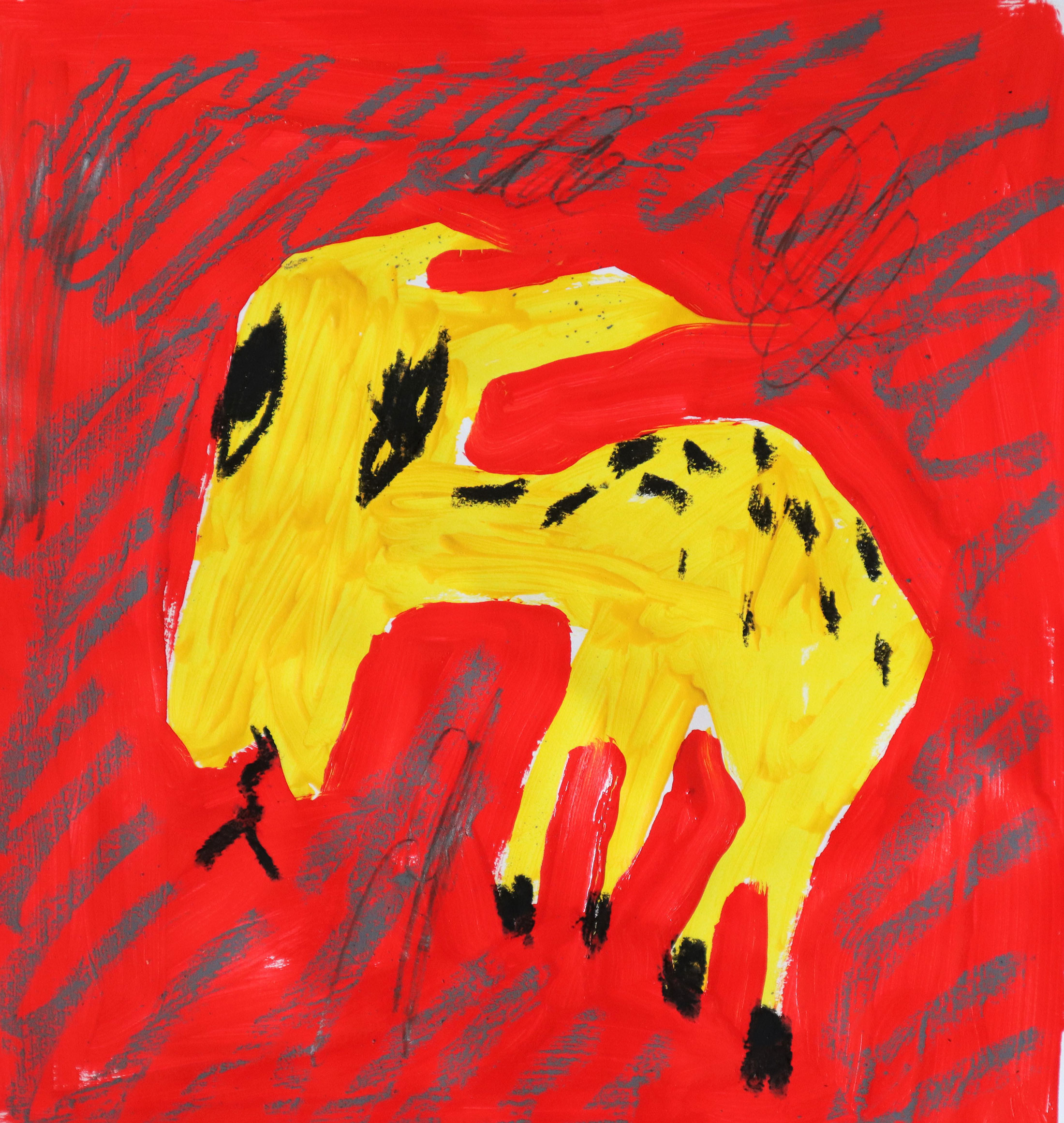 domi gratz, young female artist, contemporary original art, naive, childlike, painted animal, color, red, yellow