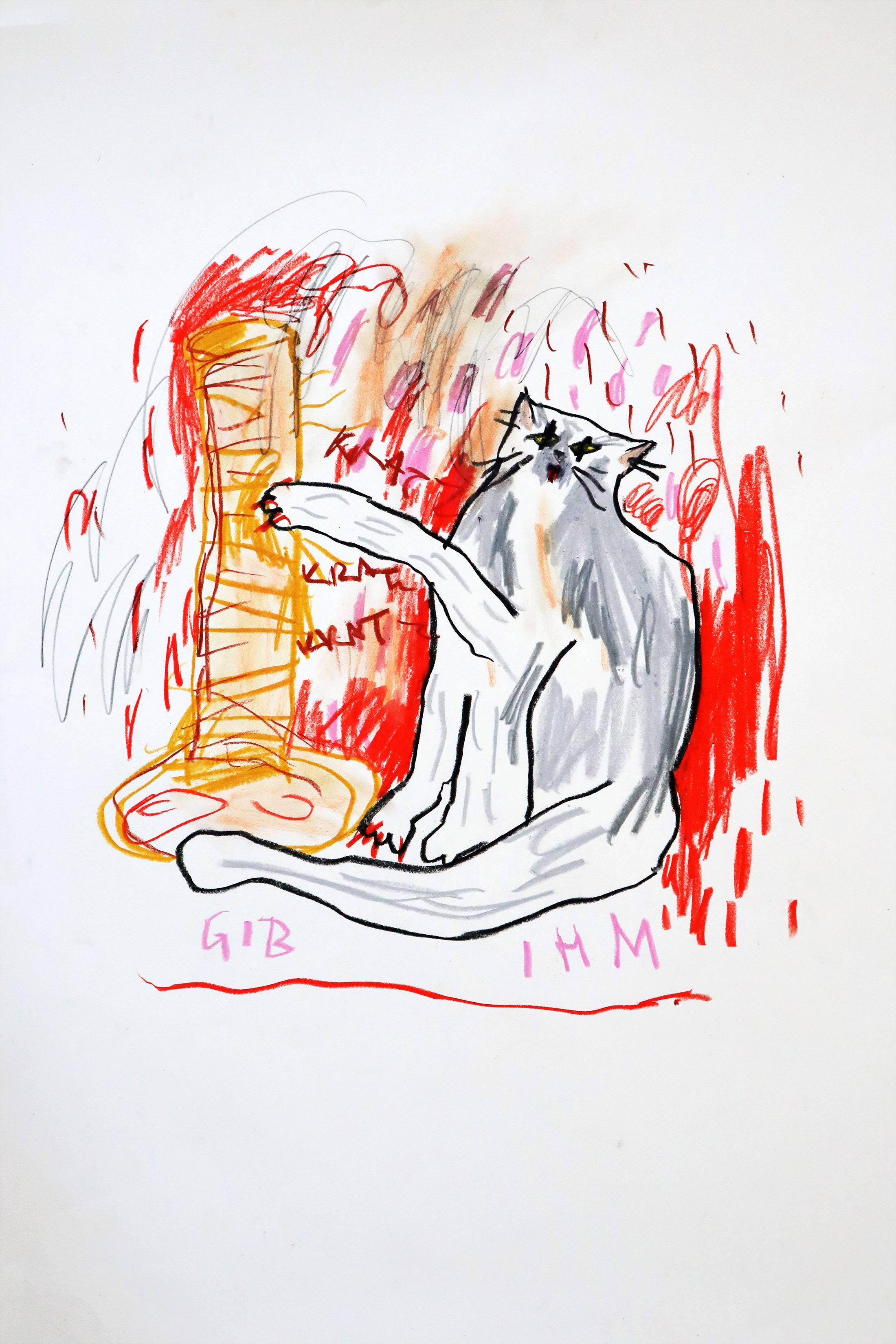 white, read, cat drawing, figurative, painting, acrylic, academy of fine arts vienna, domi gratz