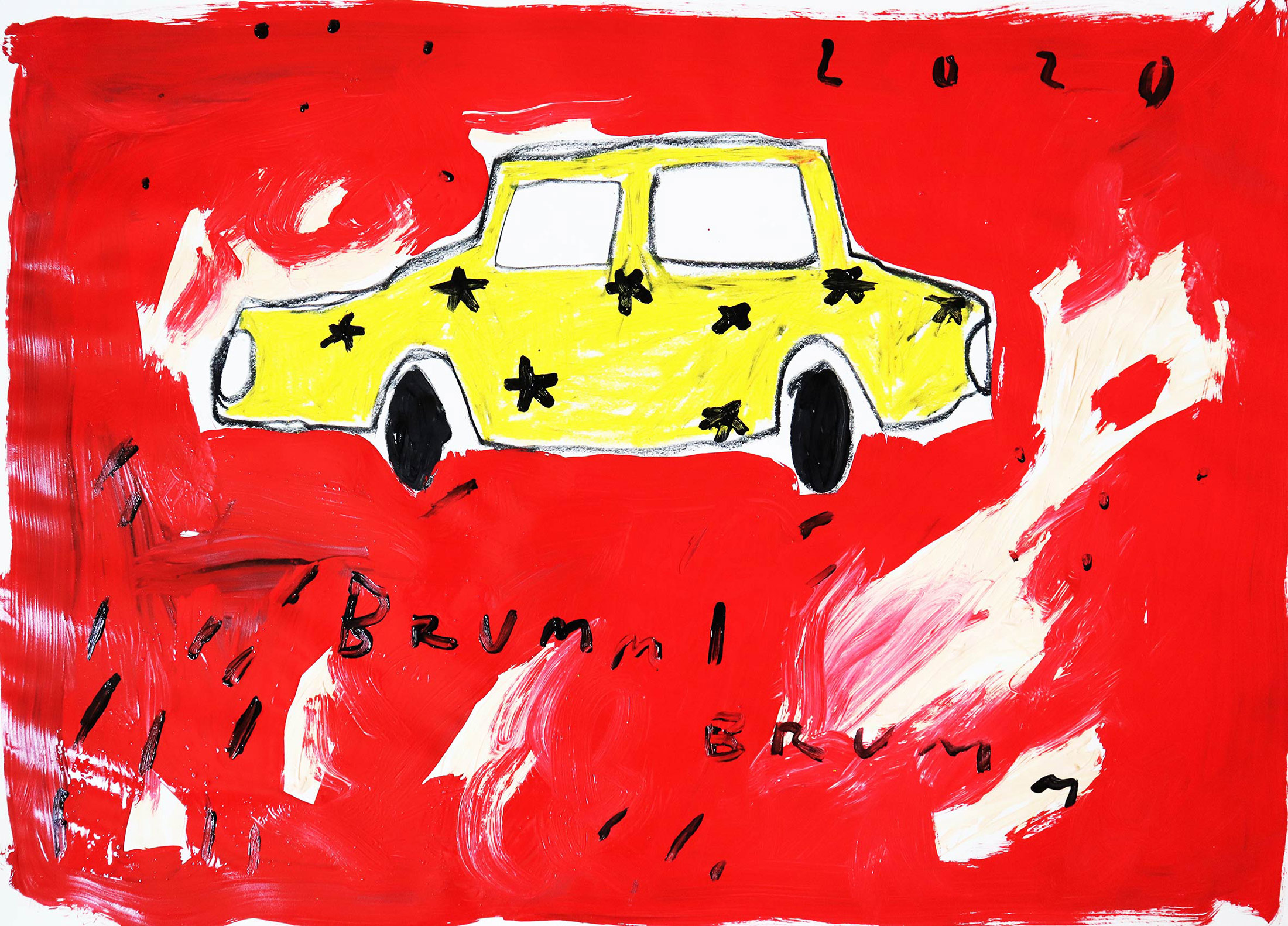 domi gratz, car, red, oil pastels, student of fine art, female artist, online viewing room, online shop, collect art