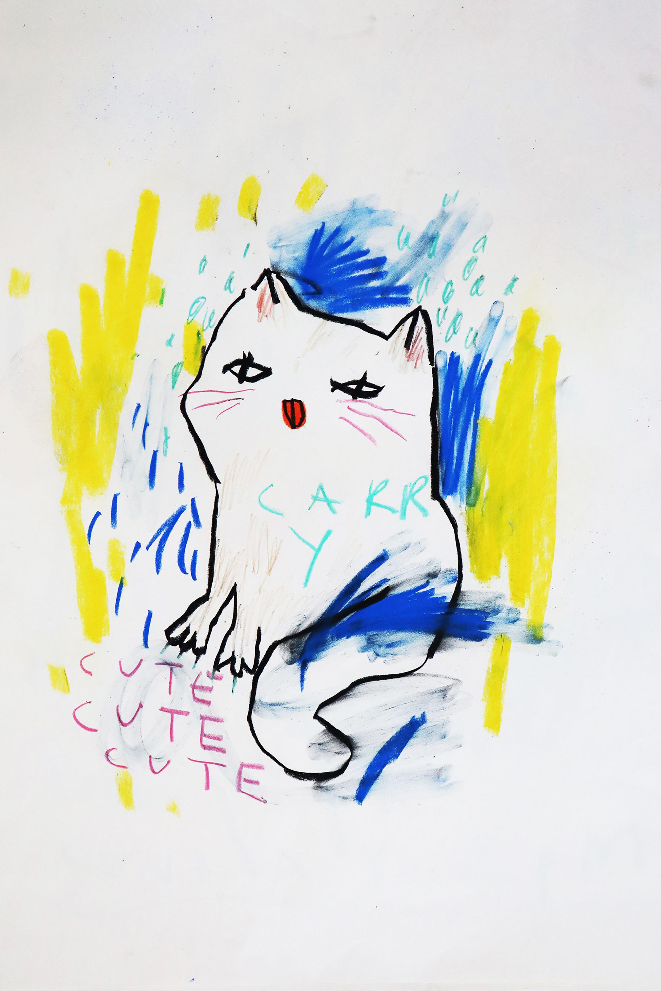 domi gratz, contemporary art, platform, naive artwork, interior, beautiful, kitten, pastels