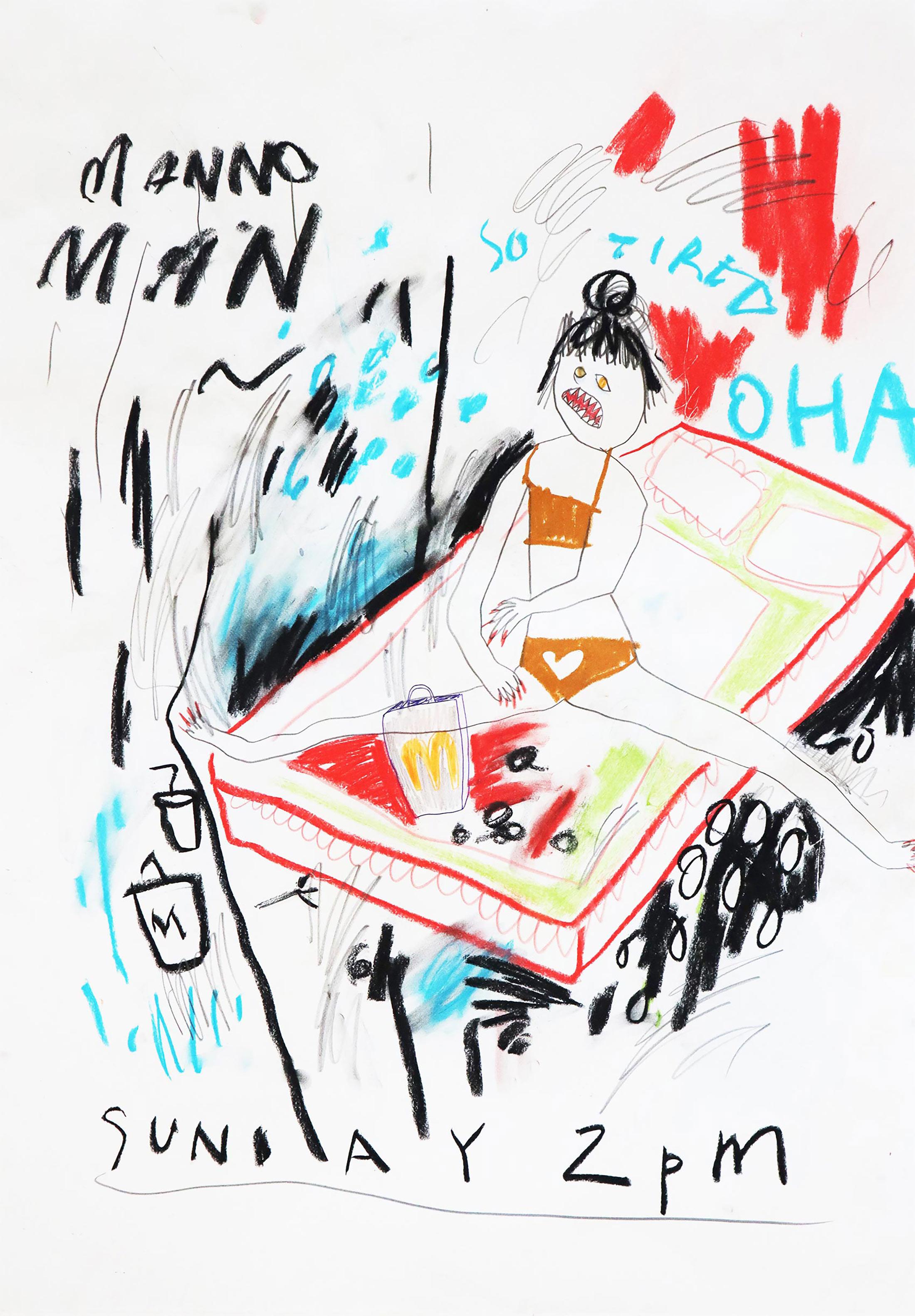 domi gratz, oil pastels, naive art, kunst online kaufe, akademie der künste, wien, kunst sammeln