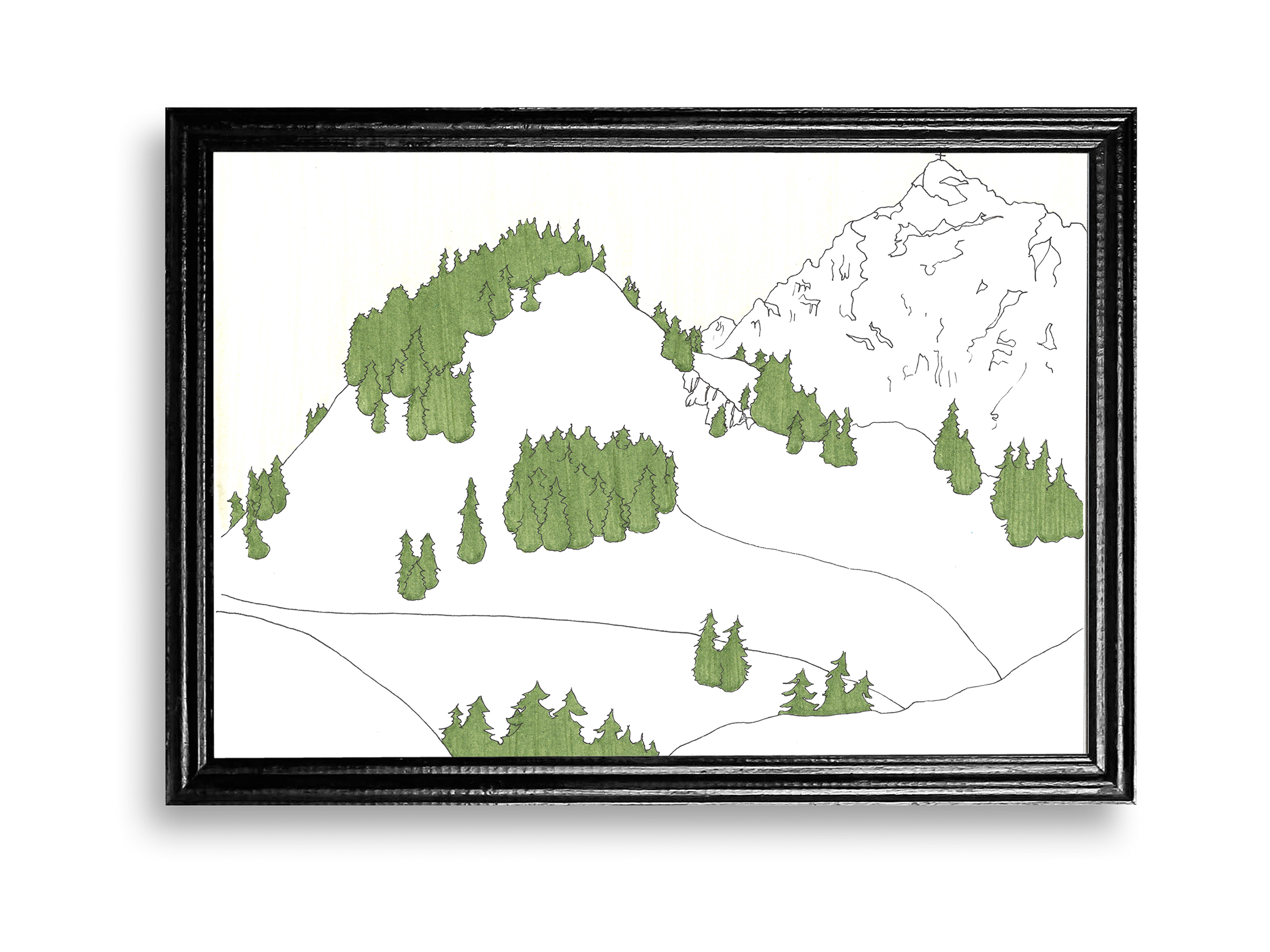 anna stemmer-dworak, drawing, illustrator, female artist, austria, landscape, snowy mountains