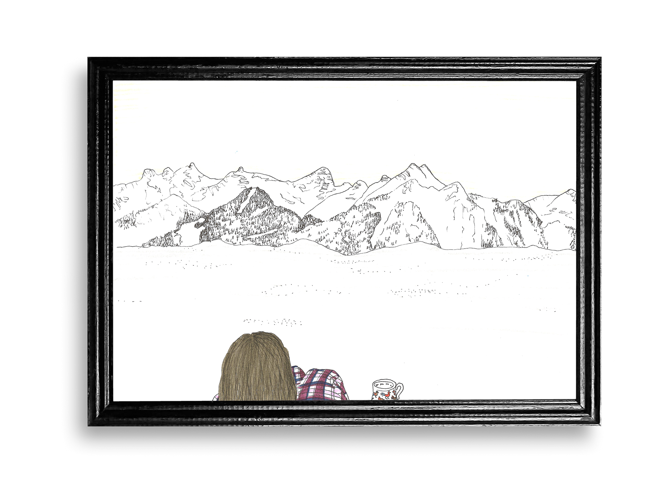anna stemmer-dworak, illustration art, mountain view, austria, drawing, contemporary art, illustration, unique piece