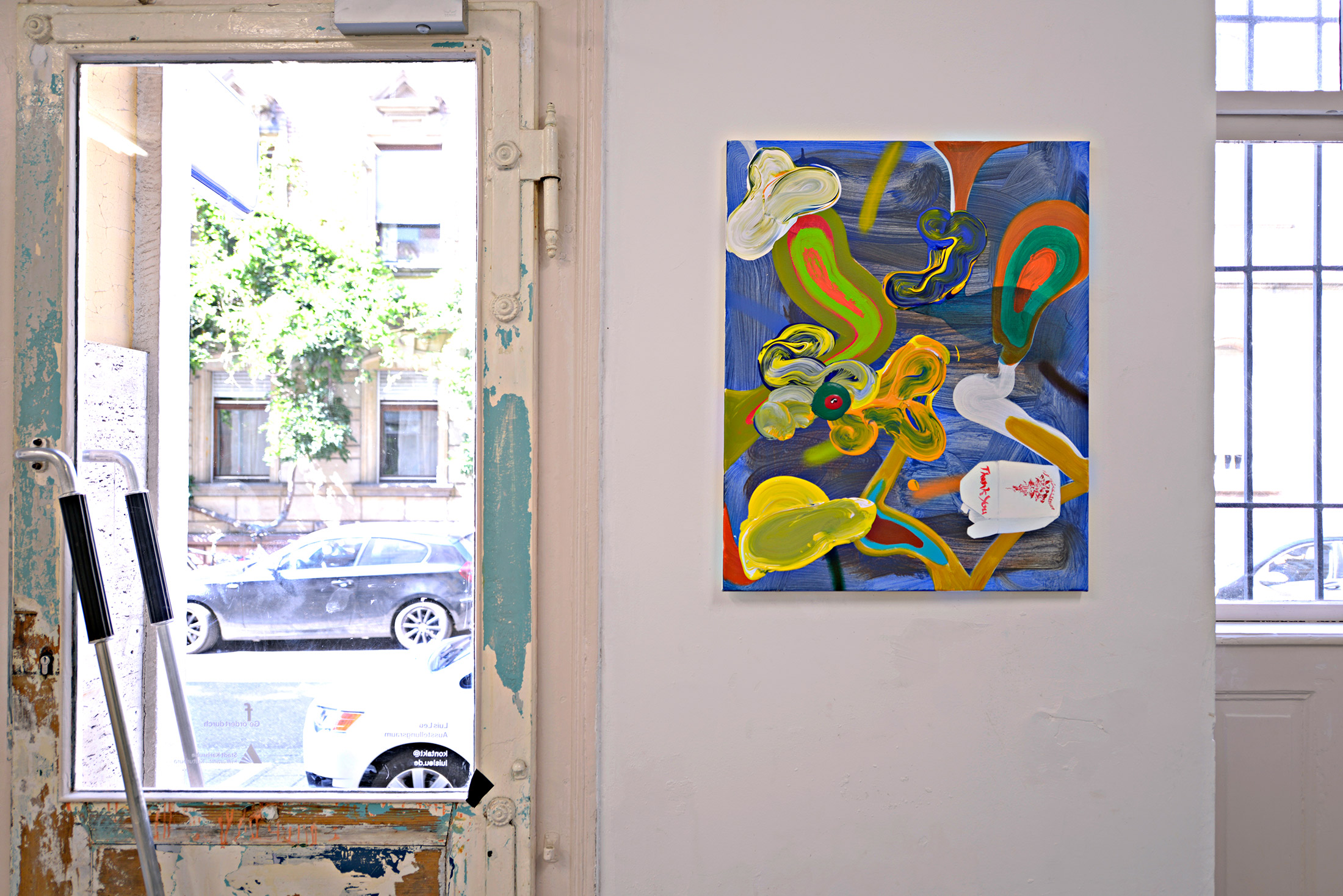 mathis pauer, in his studio, contemporary art, painting on wall, view outside