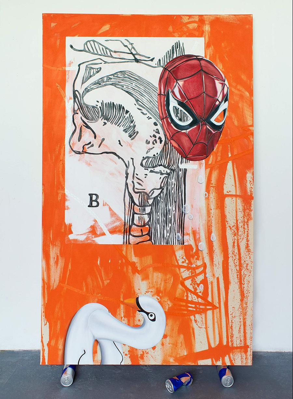 god complex, spiderman in art, comic, bex massey, artwork, Red Bull, orange, mixed media,