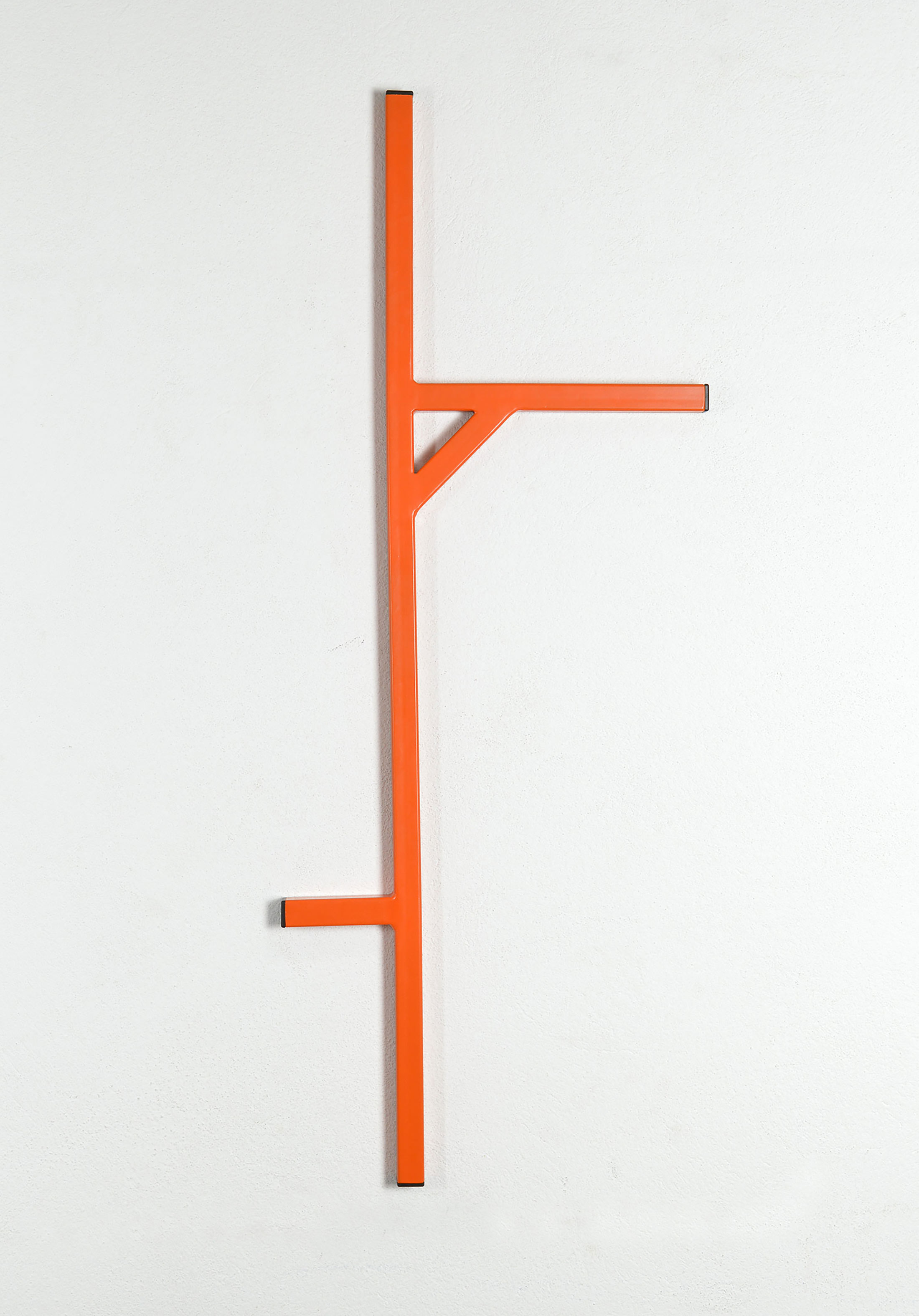 orange artwork, cantilever, wallpiece, sculpture, minimal, emanuel ehgartner