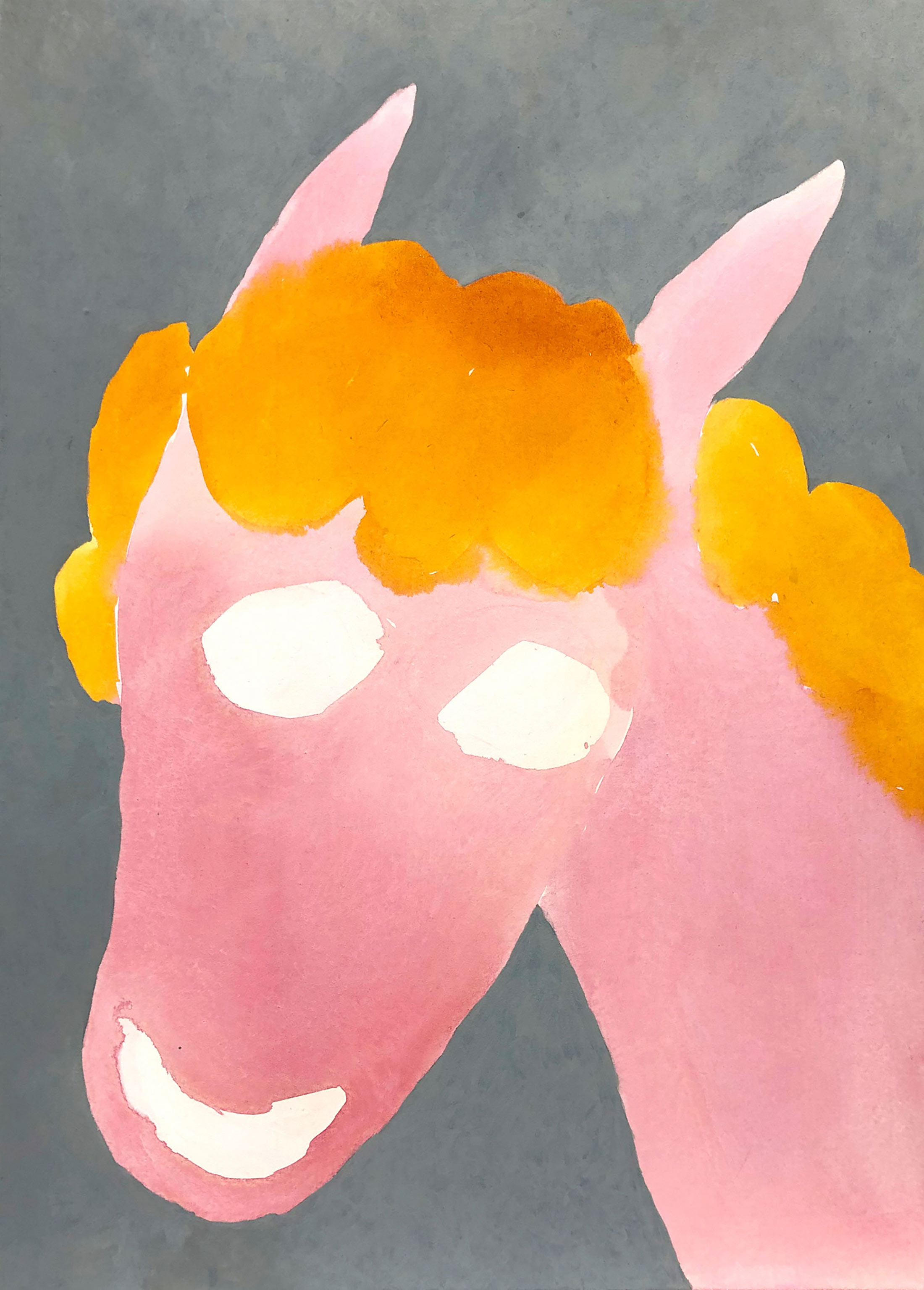 pink, horse, painting, contemporary art, figurative and funny, grey background, buy art online, munchies art club