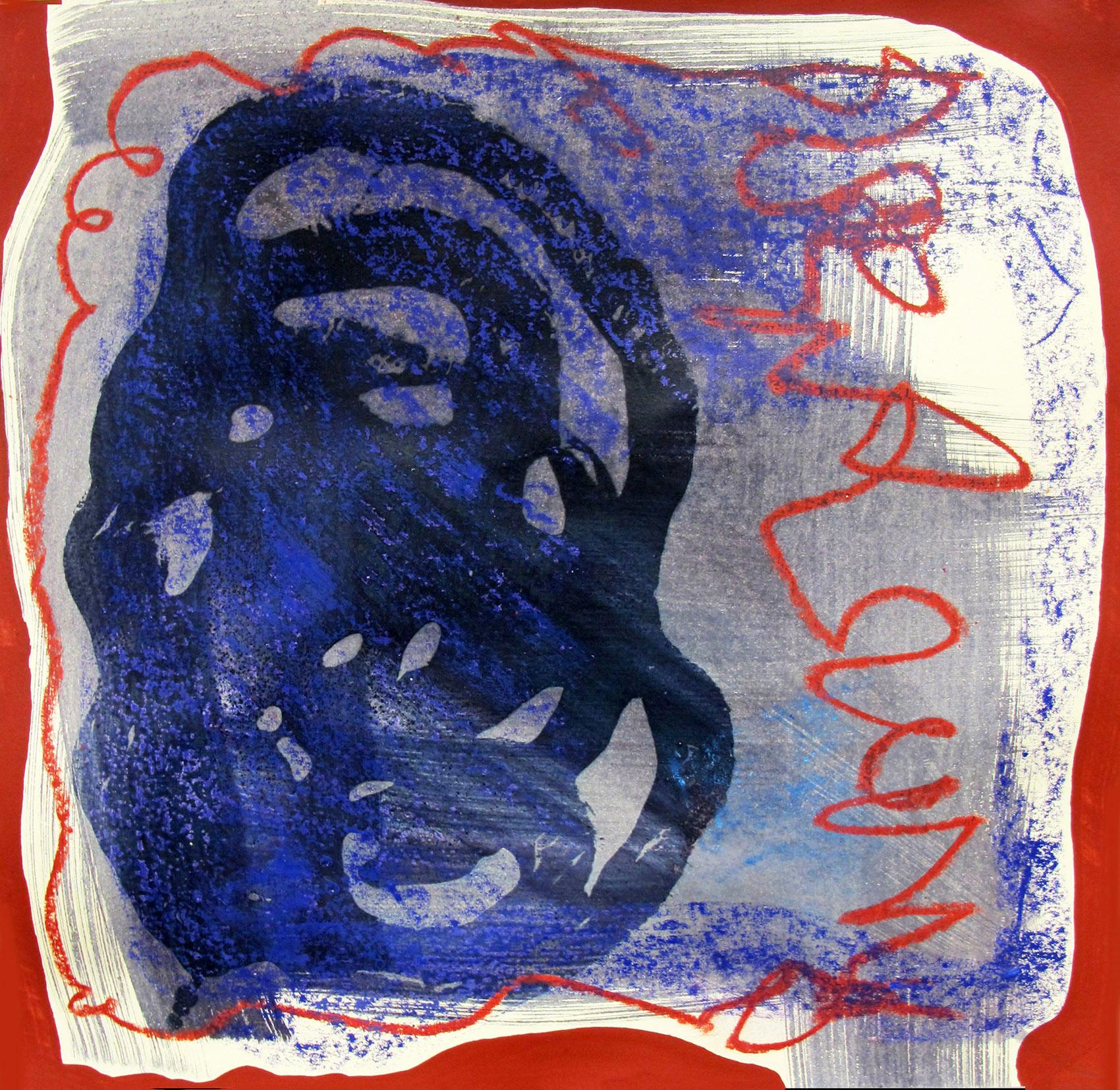 spotlight artist, alexandra feusi, abstract contemporary artwork, blue and red