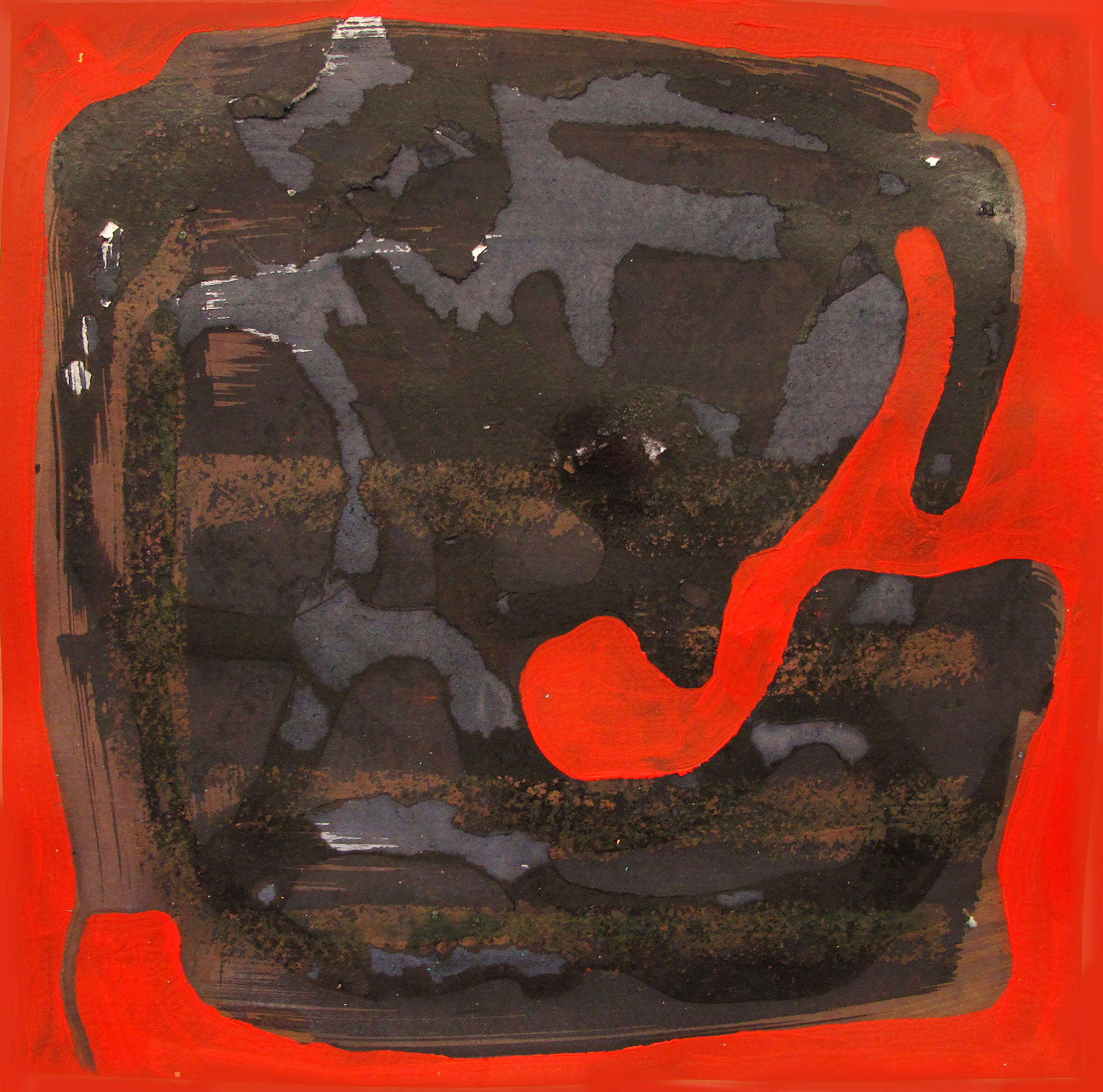 red, painting, black form, alexandra feusi, emerging artist, collecting art,
