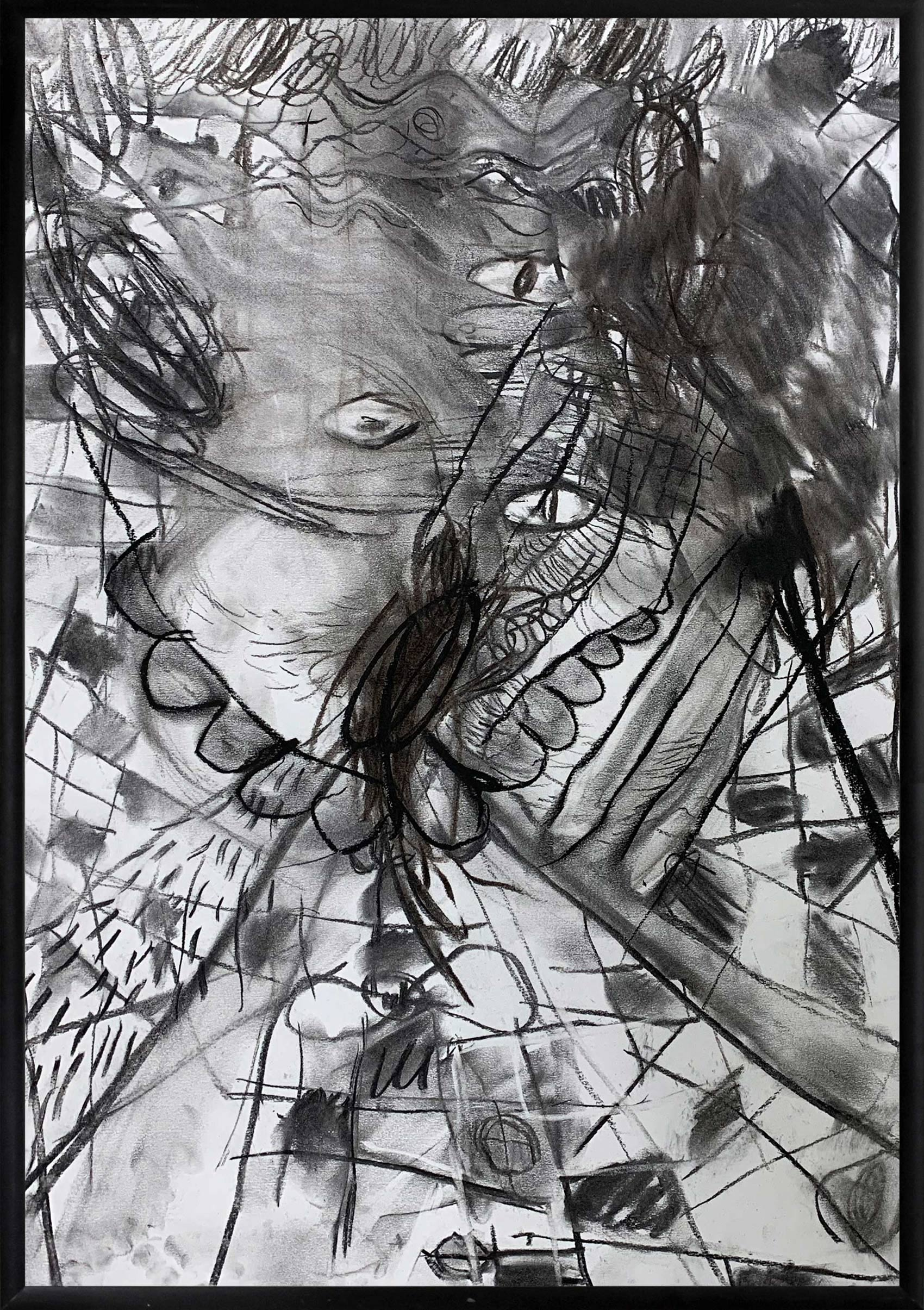 marina stankovic, drawing, work on paper, available, head space, collection, artdealer, charcoal on paper