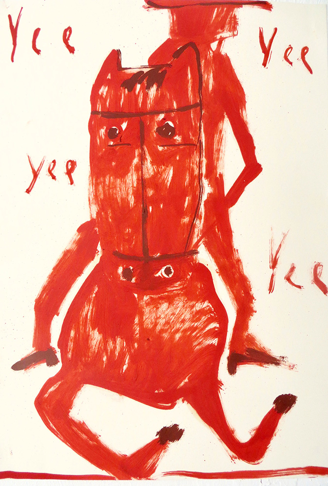 horse painting, drawing, red, gabrielle graessle, featured artist, munchies art club