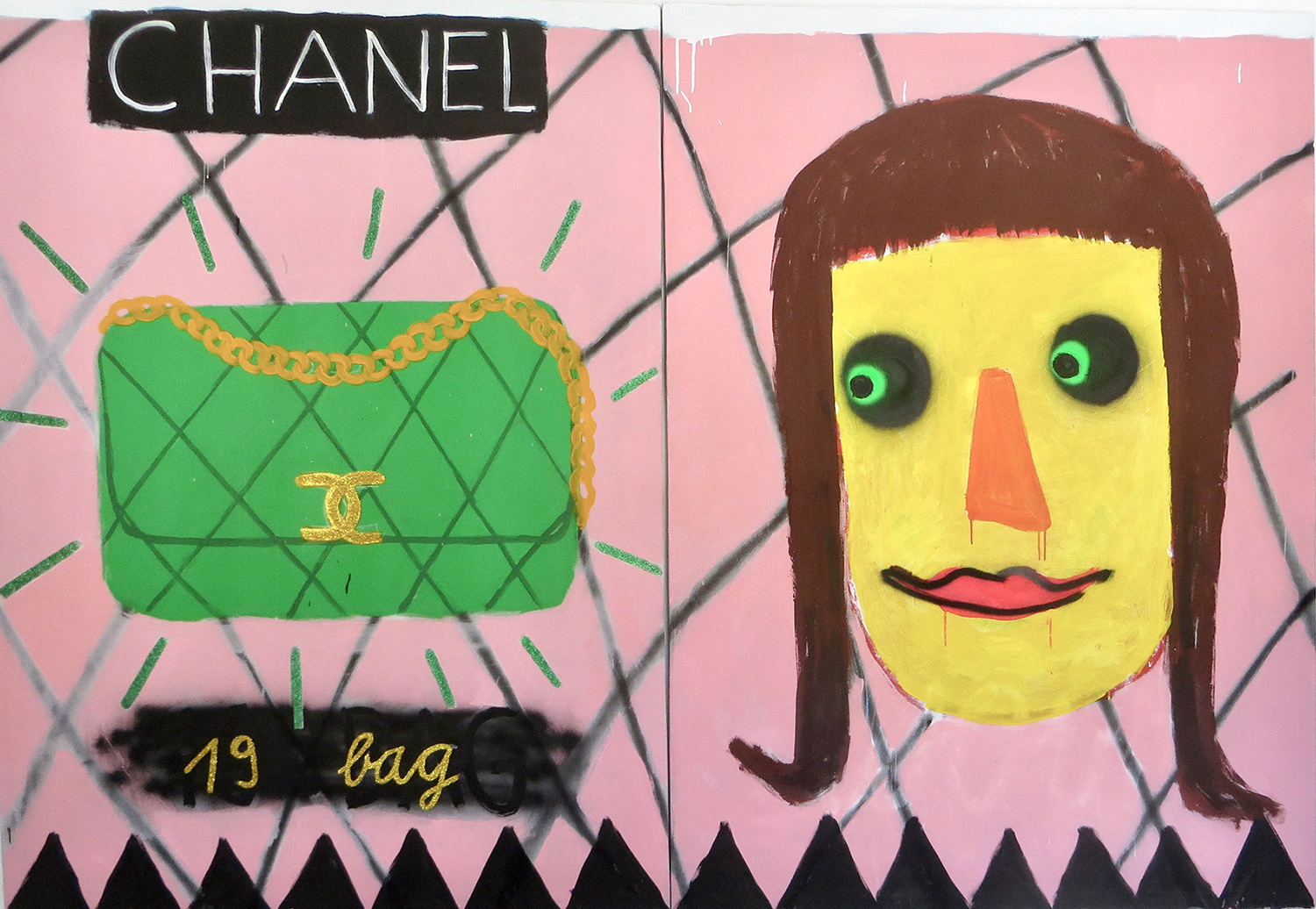 channel painting, bag, portrait, artist, gabrielle graessle,