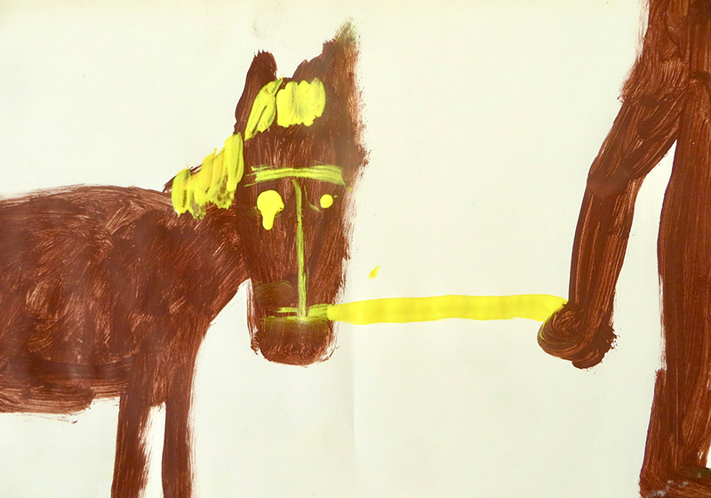 contemporary horse painting, yellow, brown, naive, collectors art, gabrielle graessle