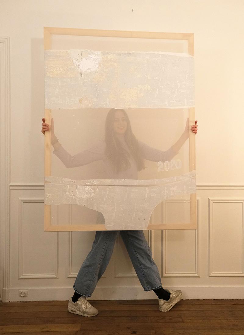 karo kuchar, artist portrait, yellow, with her contemporary artwork