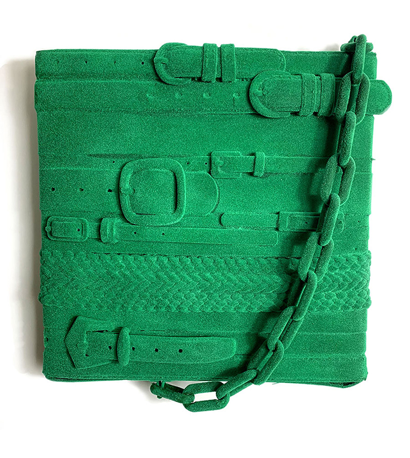 noah kashiani, color, green, up-cycled belts, contemporary sculpture