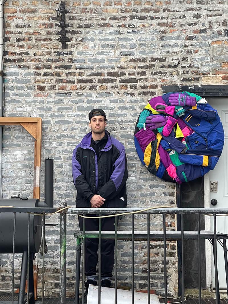noah kashiani, feaured artist munchies art club profile, outside art studio, chicago