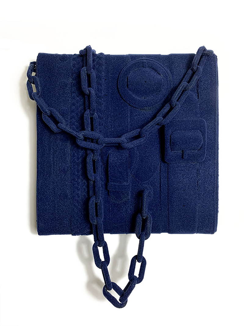 noah kashiani, up-cycled belts, blue, contemporary art, sculpture, available artwork