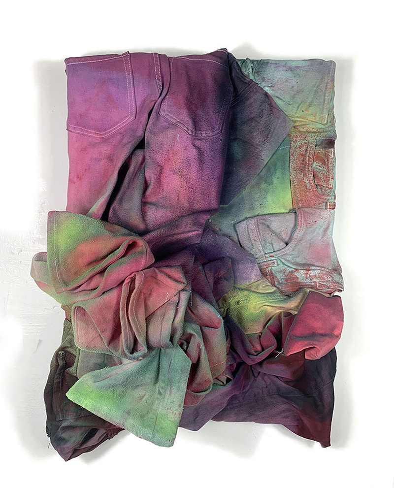 noah kashiani, up-cycled jeans, dye, acryl, available art