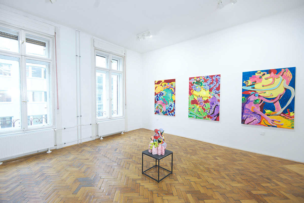 mira makai, exhibition view, four rooms gallery, paintings, canvas, acryl,