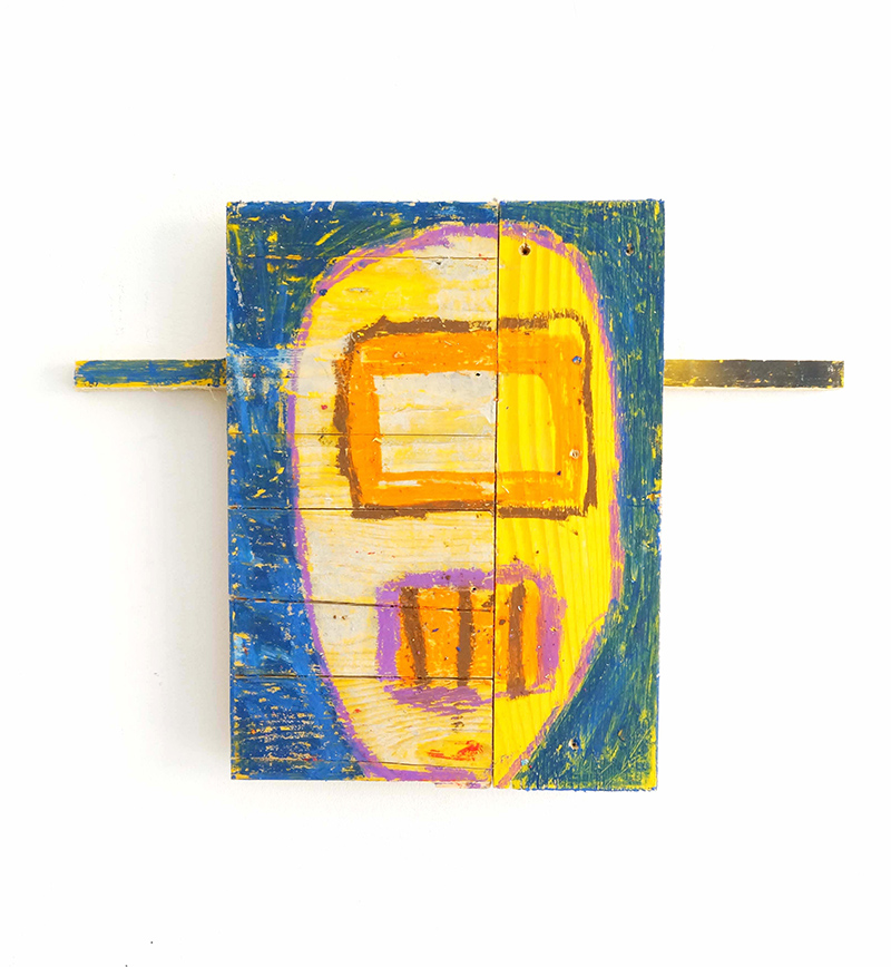astronaut, sculpture, wallpiece, painted yellow wood, constructing mythology, ernst koslitsch