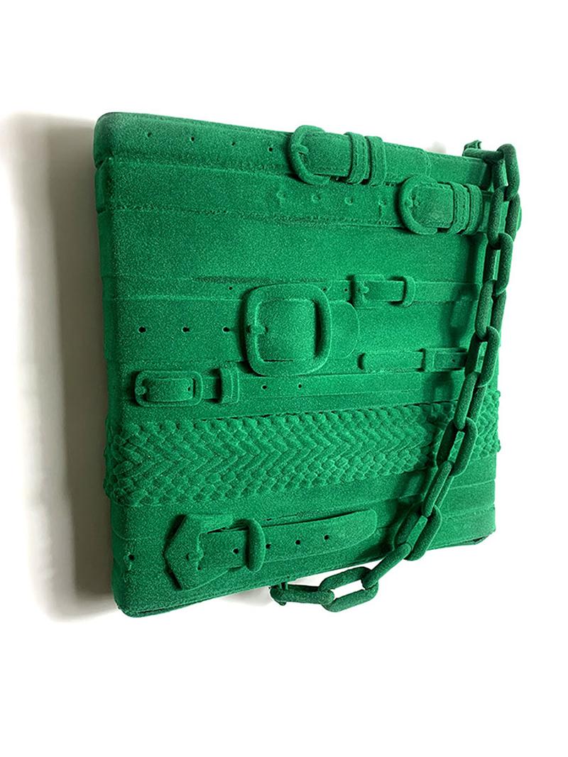 noah kashiani, contemporary sculpture, green, handbag,old belts,