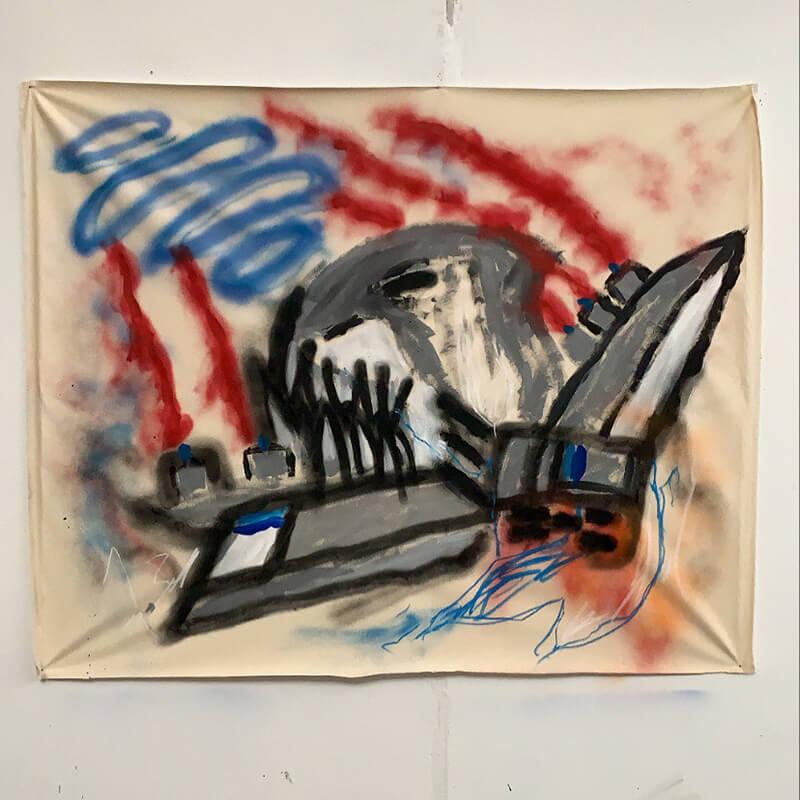 sergio borrego, contemporary painter, france, mixed media, spray paint, emerging artist