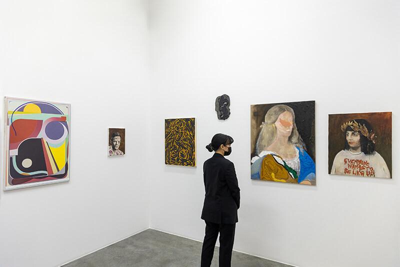 beer, wooden panels, small, portraits, busts, objects, mixed media, nada, kourosh, dubai