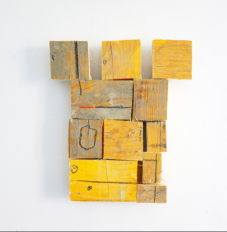 yellow, wood, sculpture, wallpiece, contemporary art, artwork, sale