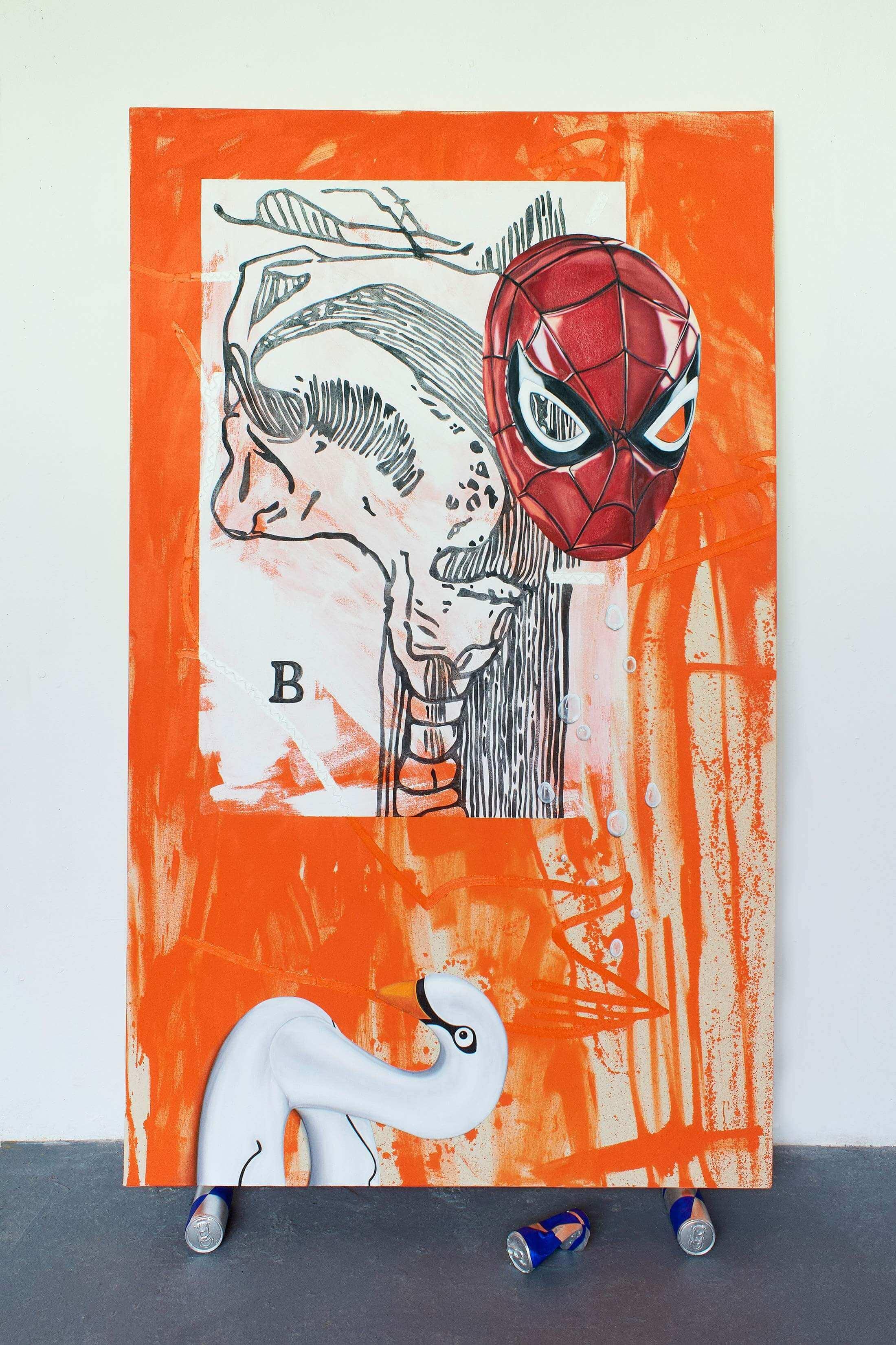 god complex, spiderman in art, comic, emerging, artwork, red bull, orange, mixed media,
