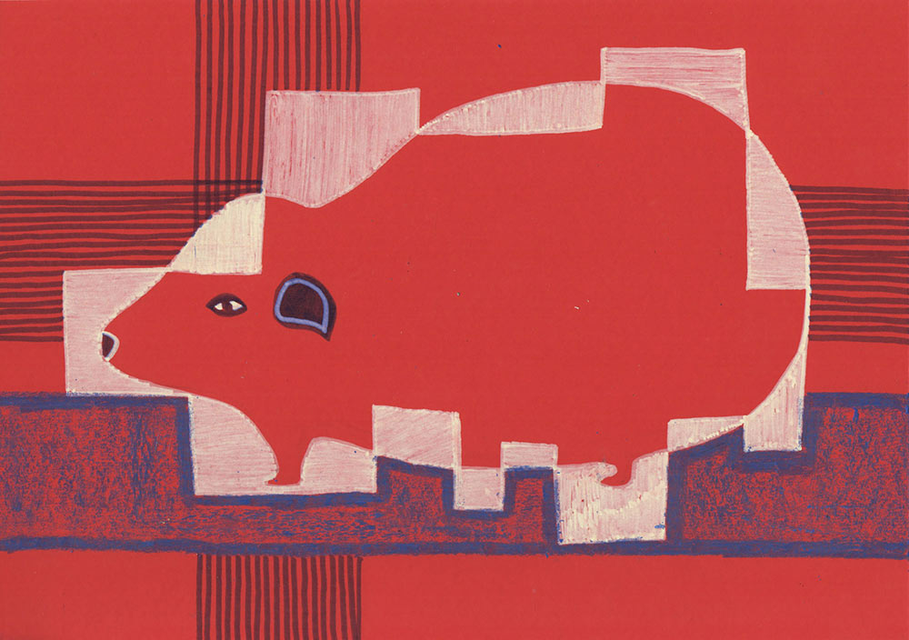how to draw a guineapig, red, artsy, and modern art,