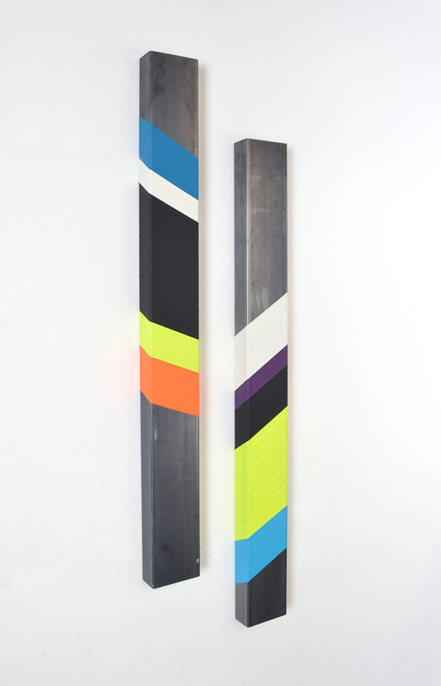 wallpiece, painted metall, on wall, minimalistic, sculpture, by emanuel ehgartner