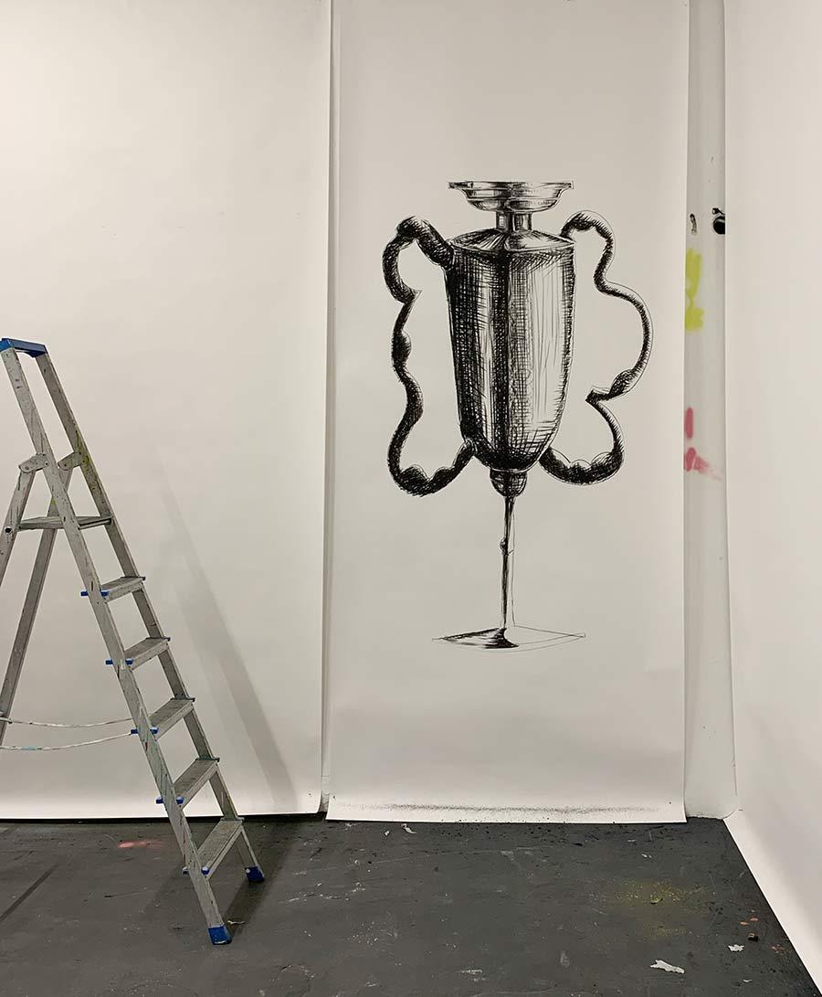 atelier, esther zahel, laurentius sauer, work on canvas, portrait, paint