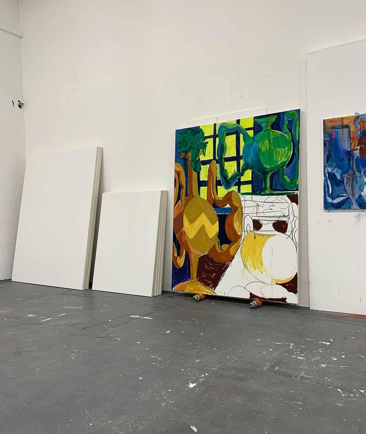 studio lukas sauer zahel, canvases, large works on paper, vogel art edition