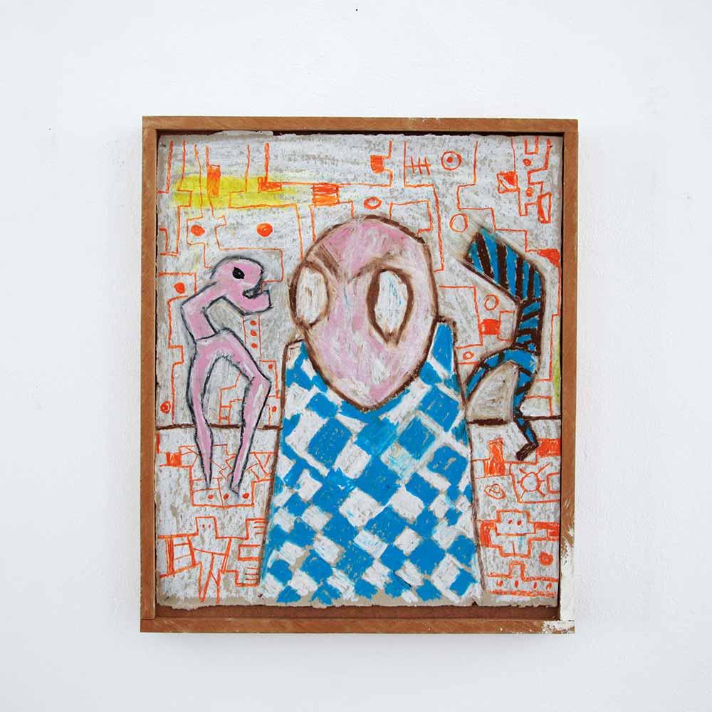 drawing on cardboard, mysteries figures, ancient, constructing mythology, ernst koslitsch, brown, frame